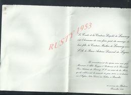 FAIRE PART  COMTE & COMTESSE LÉPOLD DE LANNOY MARIAGE DE MINTHIA DE LANNOY À PRINCE ANTOINE LAMORAL DE LIGNE BRUXELLES : - Boda