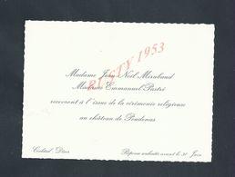 FAIRE PART INVITATION Mme JEAN NËL MIRABAUD À Mme EMMANNUEL PASTRÉ CHÄTEAU DE POUDENAS LOT & GARONNE PLAN : - Boda