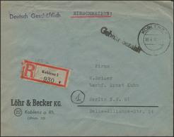 Gebühr-Bezahlt-Stempel R-Brief Koblenz 18.4.46 Nach Berlin 24.4.46 - Francobolli