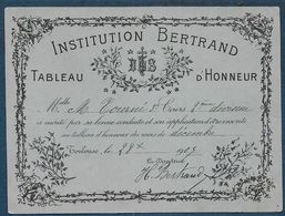 TOULOUSE - Institution Bertrand - Tableau D'Honneur - Diploma & School Reports