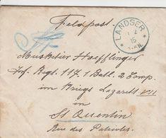 France Alsace Cachet Bleu Landser Sur Lettre Feldpost 1915 - Marcofilia (sobres)