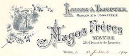 Wavre - Laines à Tricoter Mercerie Magos Frères 1904 (Illustrée Voir ZOOM) - 1900 – 1949