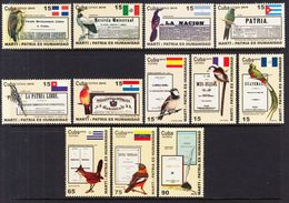 2010 Cuba Marti Quotations Flags Birds  Complete Set Of 12 MNH - Cuba