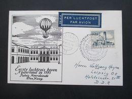 Niederlande 1956 Per Luchtpost Sonderstempel S-Gravenhage Eerste Luchtreis Boven / Ballonpost - Period 1949-1980 (Juliana)