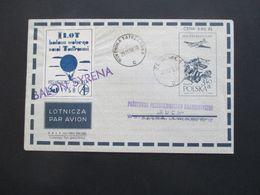 Polen 1958 Luftpost Vignette Przewieziono Balonem Stempel L1 Balon Syrena - 1944-.... Republic