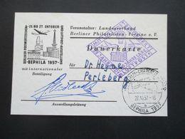Berlin 1957 Bephila Eintrittskarte ?! Mit Unterschrift Der Ausstellungsleitung SST Berlin Charlottenburg Mit Luftpost - Briefe U. Dokumente
