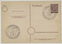 JB43   Germany 1947 Postkarte Mi P952 10pf - Special Postmark Stuttgart Industrial Exhibition - Gemeinschaftsausgaben