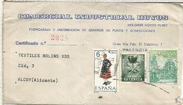 VALENCIA CC CERTIFICADA A ALCOY SELLOS PLAN SUR TRAJE TIPICO SORIA ARQUITECTURA - 1961-70 Storia Postale