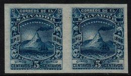 ✔️ El Salvador 1896 - Imperf Pair Plate Proof - 5 Centavo Blue - Vulcano & Crater  - Mi. 144 ** MNH Original Gum - El Salvador
