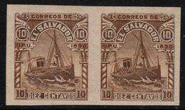 ✔️ El Salvador 1896 - Imperf Pair Plate Proof - 10 Centavo Brown - Steamer Ship  - Mi. 145 ** MNH Original Gum - El Salvador