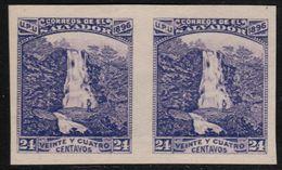 ✔️ El Salvador 1896 - Imperf Pair Plate Proof - 24 Centavo Violet - Waterfall - Mi. 149 (*) - El Salvador