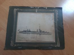Photo Croiseur Cuirassé Environ 1900,photographe E.Arnault ,Le Treport Villefranche/mer..bateau à Identifier... - Bateaux
