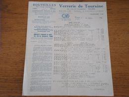 37 TOURS - Document Verrerie De Touraine, Bouteilles En Tous Genres, 15 Avril 1926 - 1900 – 1949