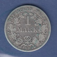 Deutsches Kaiserreich Silberne Kursmünze 1 Mark A 1881 - Unclassified