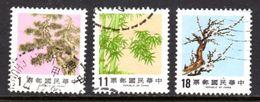 TAIWAN ROC - 1986 PINE BAMBOO PLUM TREES SET (3V) FINE USED SG 1633-1635 - 1945-... République De Chine