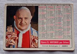 """CALENDARIO 1975 IMMAGINE PAPA GIOVANNI  """"Opera S. Antonio Per Orfani"""" Andria - Calendriers"""
