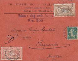 France Alsace Lettre De Valeur Strasbourg Cachet Bleu 1920 - Marcofilia (sobres)