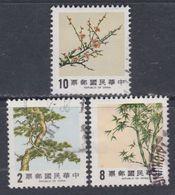 """Taiwan N° 1536 / 38 O  Flore : """"Les 3 Amis Du Temps D'hiver"""" ( I ), Les 3 Valeurs Oblitérées, TB - 1945-... République De Chine"""