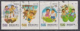 Taiwan N° 1984a / 87a O  Jeux D'enfants, Les 4 Valeurs émises En Carnet, Se Tenant, Oblitérées, TB - 1945-... République De Chine