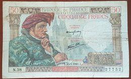 Billet De 50 Francs JACQUES CŒUR 23 - 1 - 1941 FRANCE N.38 - 50 F 1940-1942 ''Jacques Coeur''
