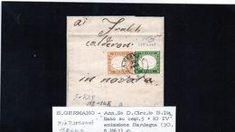 CG21 - Lettera Da San Germano Per Novara 30/8/1863 - Ann. Doppio Cerchio Sardo/Ital Su Cent. 5+10 -  F.to Raybaudi - Sardinië