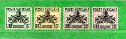 Vaticano ** - 1954 - Segnatasse, Lire 6-10-50-70.  Unif. 20-21-23-24.  Vedi Descrizione - Postage Due