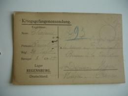 Regensburg Camp De Prisonniers Carte Franchise Censure Allemande Pour  Prefecture Nievre - Guerre De 1914-18
