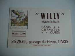 Buvard  Willy Image Epinal Cigogne Pour Gants Cravates Passage Du Havre Buvard - Vloeipapier