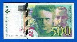 500 Fr  1995 - 500 F 1994-2000 ''Pierre Et Marie Curie''