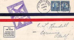 USA - AIRMAIL 1928 DETROIT - CORNING, CA //ak878 - Luftpost