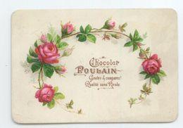 ANCIENNE IMAGE CHROMO GAUFREE RELIEF EMBOSSES CHOCOLAT POULAIN ROSES FLEURS BE - Poulain