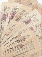 14 X RECU DE BANQUE CREDIT MUTUEL  AGENCE PARIS 1928 / 1947 DONT 10 AVEC TIMBRE FISCAL - Documents Historiques