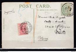 Postkaart Van Canterbury Naar Bruxelles Met Belgische Takszegel - Storia Postale