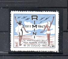 POSTA AEREA - RIMINI 1911 - 1947 - ANNIVERSARIO PRIMA RIUNIONE AVIATORIA - 1900-44 Vittorio Emanuele III