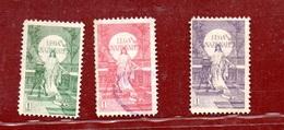MARCHE DA BOLLO  - LEGA NAZIONALE L. 1 - SERIE TRE VALORI DIVERSI - 1900-44 Vittorio Emanuele III