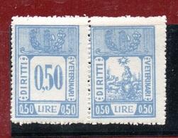 MARCHE DA BOLLO  - DIRITTI VETERINARI LIRE 0,50 Coppia CON FASCIO LITTORIO - 1900-44 Vittorio Emanuele III