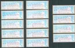 LISA (ATM) : Etiquettes De Contrôle - Récapitulatifs Des Tarifs En Service Et Des Tarifs En Réserve (2 Scans) - 1990 «Oiseaux De Jubert»
