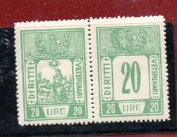 MARCHE DA BOLLO  - DIRITTI VETERINARI LIRE 20 Coppia CON FASCIO LITTORIO - 1900-44 Vittorio Emanuele III