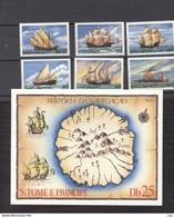 Portugal  -  S. Tome E Principe  :  Yv  566-71  +  Bloc     **   Bateau - Boat - St. Thomas & Prince