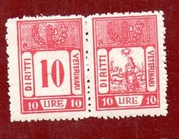 MARCHE DA BOLLO  - DIRITTI VETERINARI LIRE 10 Coppia CON FASCIO LITTORIO - 1900-44 Vittorio Emanuele III