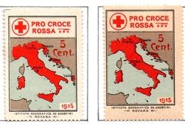 MARCHE DA BOLLO  - CENT. 5 PRO CROCE ROSSA - 1915 - 1900-44 Vittorio Emanuele III