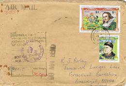 36822. Carta Aerea FUNAFUTI (Tuvalu) 1986. Marca Aduana, CUSTOM London. Leaders Of The World - Tuvalu