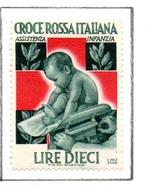 MARCHE DA BOLLO  -  LIRE 10 CROCE ROSSA  ITALIANA - ASSISTENZA INFANZIA - 1900-44 Vittorio Emanuele III