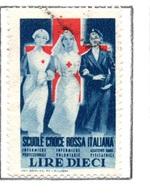 MARCHE DA BOLLO  -  LIRE 10  SCUOLE CROCE ROSSA  ITALIANA - 1900-44 Vittorio Emanuele III