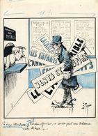 Dessin De Presse Original  Edmond Tapissier E.Tap Pour Journal Polichinelle Littérateur Venant Vendre Ses Titres Bourse - Banks