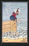 Künstler-AK George Edward Shepheard: All Alone, Einsames Mädchen Am Strand - Shepheard
