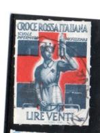 MARCHE DA BOLLO  -  LIRE 20   CROCE ROSSA  ITALIANA - SCUOLE INFERMIERE PROFESSIONALI - 1900-44 Vittorio Emanuele III