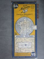 Carte Routière MICHELIN N:64 édition De 1951 ANGERS - ORLEANS  Tours Chinon - Cartes Routières