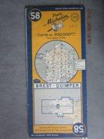 Carte Routière MICHELIN N: 58 Bretagne  BREST QUIMPER édition 1951 - Cartes Routières