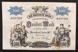 Germania Germany 100 MARK 1907 Baden LOTTO 1821 - [11] Emisiones Locales